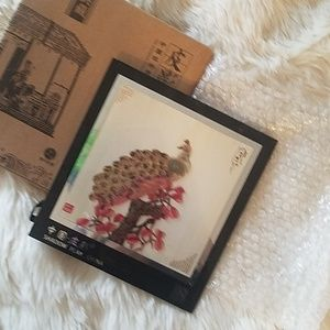 NIB Chinese glass Peacock image w/ stand & hook